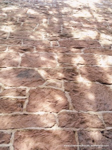 14-inch red sandstone walls